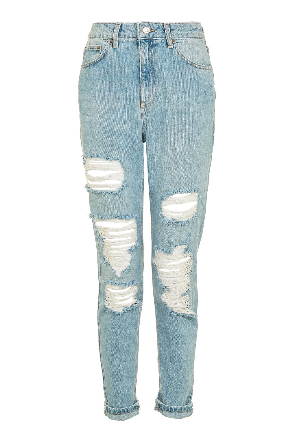 e3293138154 Carousel Image 0 High Waisted Distressed Jeans, Blue Ripped Jeans, Bleached  Jeans, Cuffed