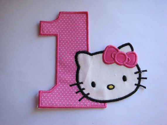 Iron on embroidery fabric appliques Kitty by EmbellishmentJunkies, $5.55