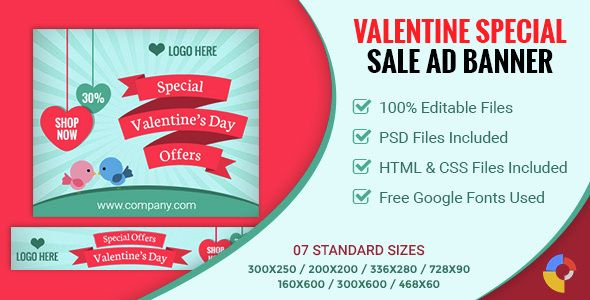 Download Free Valentineu0027s Day Sale Banner - 07 Sizes # ad html5 - For Sale Ad Template