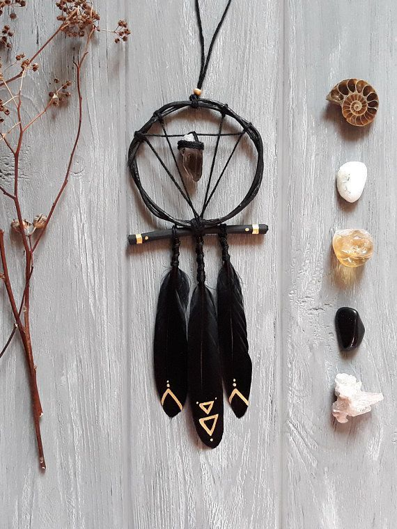 Black Dream Catcher For Car Small Dream Catcher Witchy Home Decor Smoky Quartz Witch Decor Sacred Geometry Witchcraft Black Gold Rustic Mini