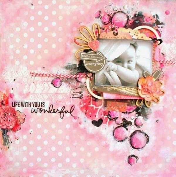 My Craft World: Wonderful Life- Cute baby layout. kaisercraft paper