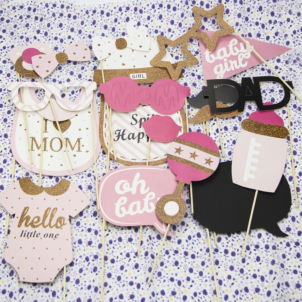 20pcs Baby Shower Photo Booth Props Little Lady Girl New Born Party Decoration Baby Shower Photo Booth Props Baby Shower Photos Baby Shower Diy