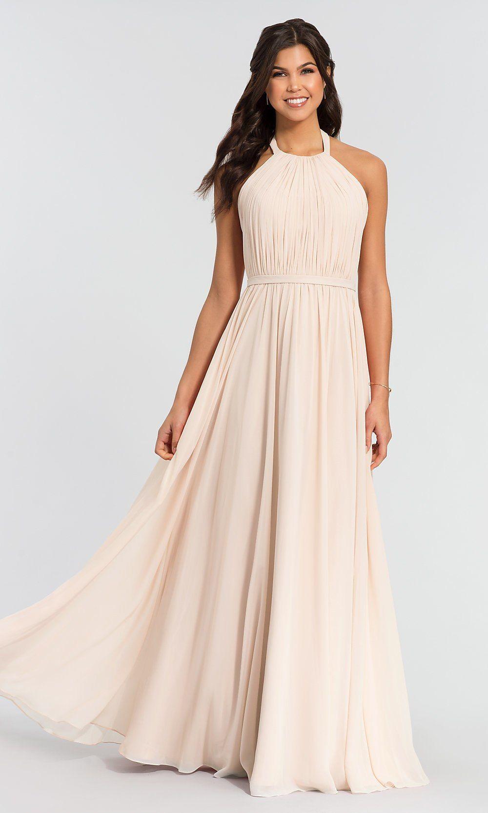 Pleated-Bodice Halter Kleinfeld Bridesmaid Dress | Pleated bodice ...
