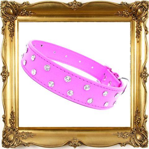 Diamante Dazzle dog collar, light fuchsia in colour, features clear sparkling diamante.