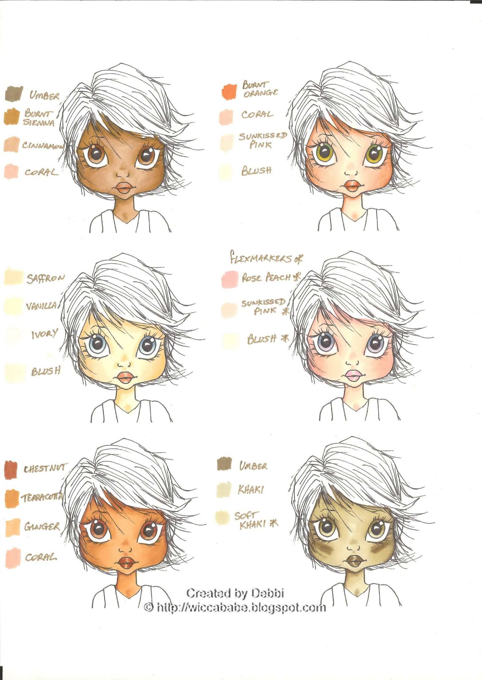Flesh colored cardstock - Wiccababe S Tutorials Skin Tone Colour Combos Not Copics But Still A Very