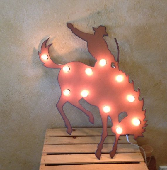 Rusted Recycled Metal Bronc Bucking Horse Cowboy Lighted