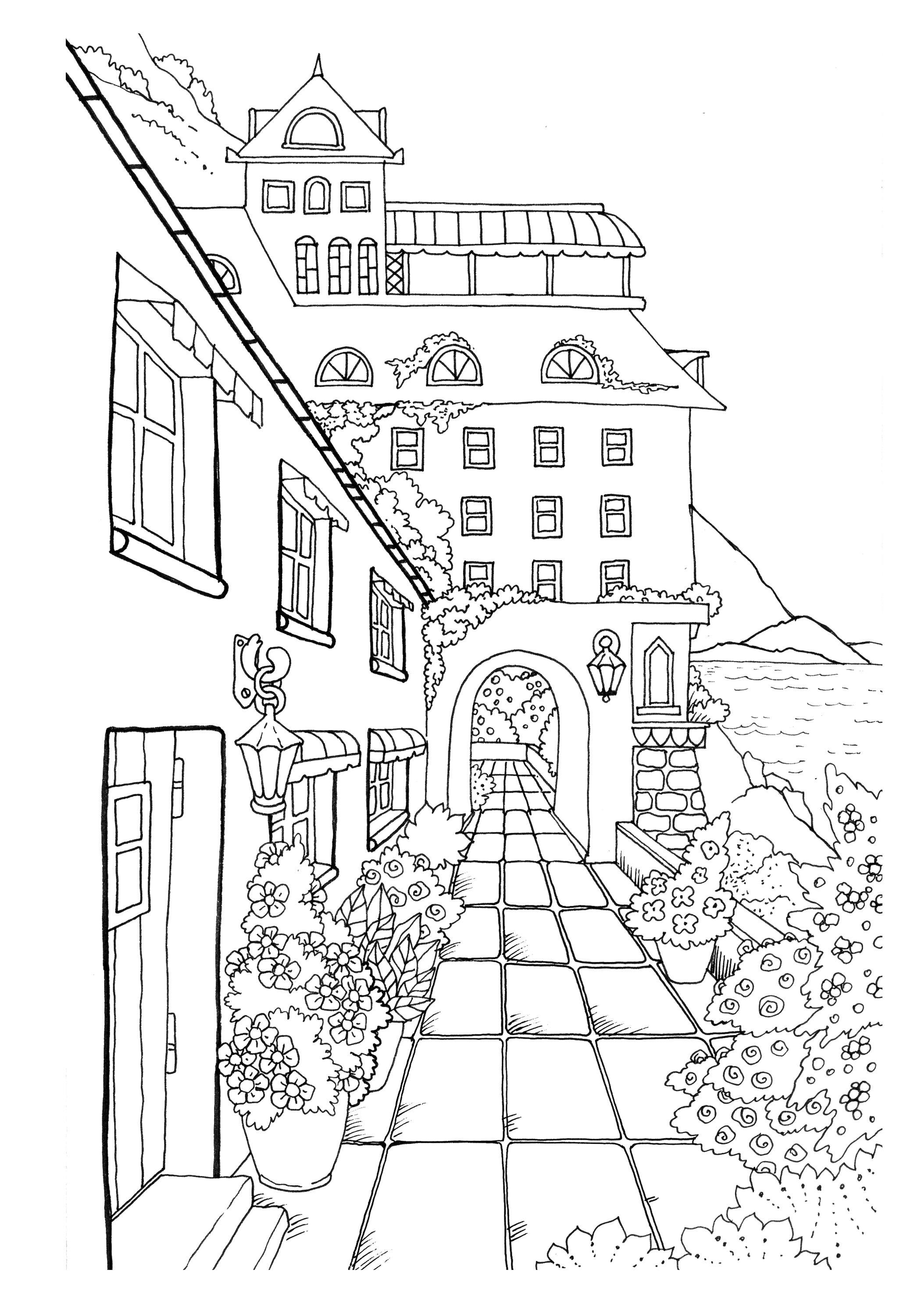 Nice little town adult coloring book digital pages stress