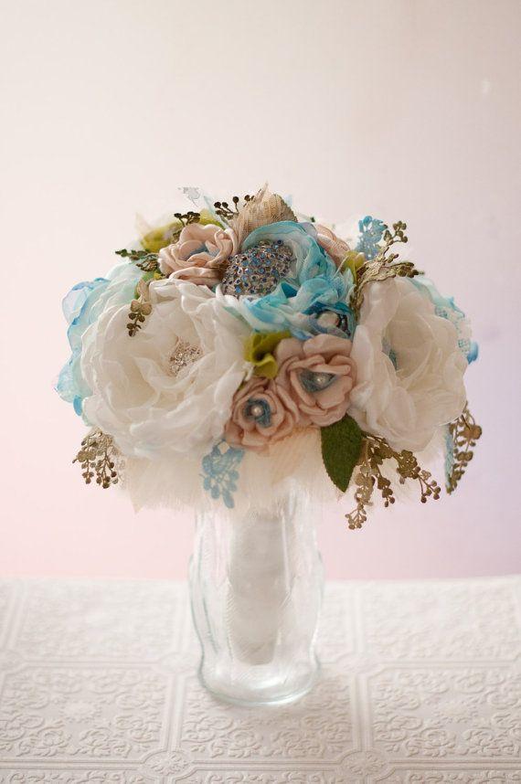 Fabric Wedding Bouquet Brooch Bouquet, Hydrangeas, Roses, rhinestone ...