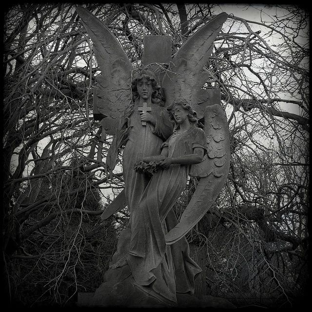 Angels in the Dean Cemetery of Edinburgh, Scotland.