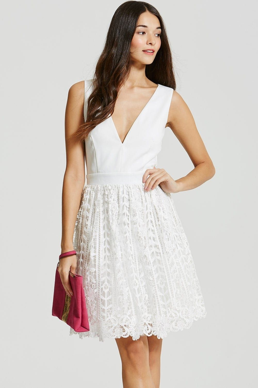 Little Mistress White Crochet Lace Plunge Mini Dress (With