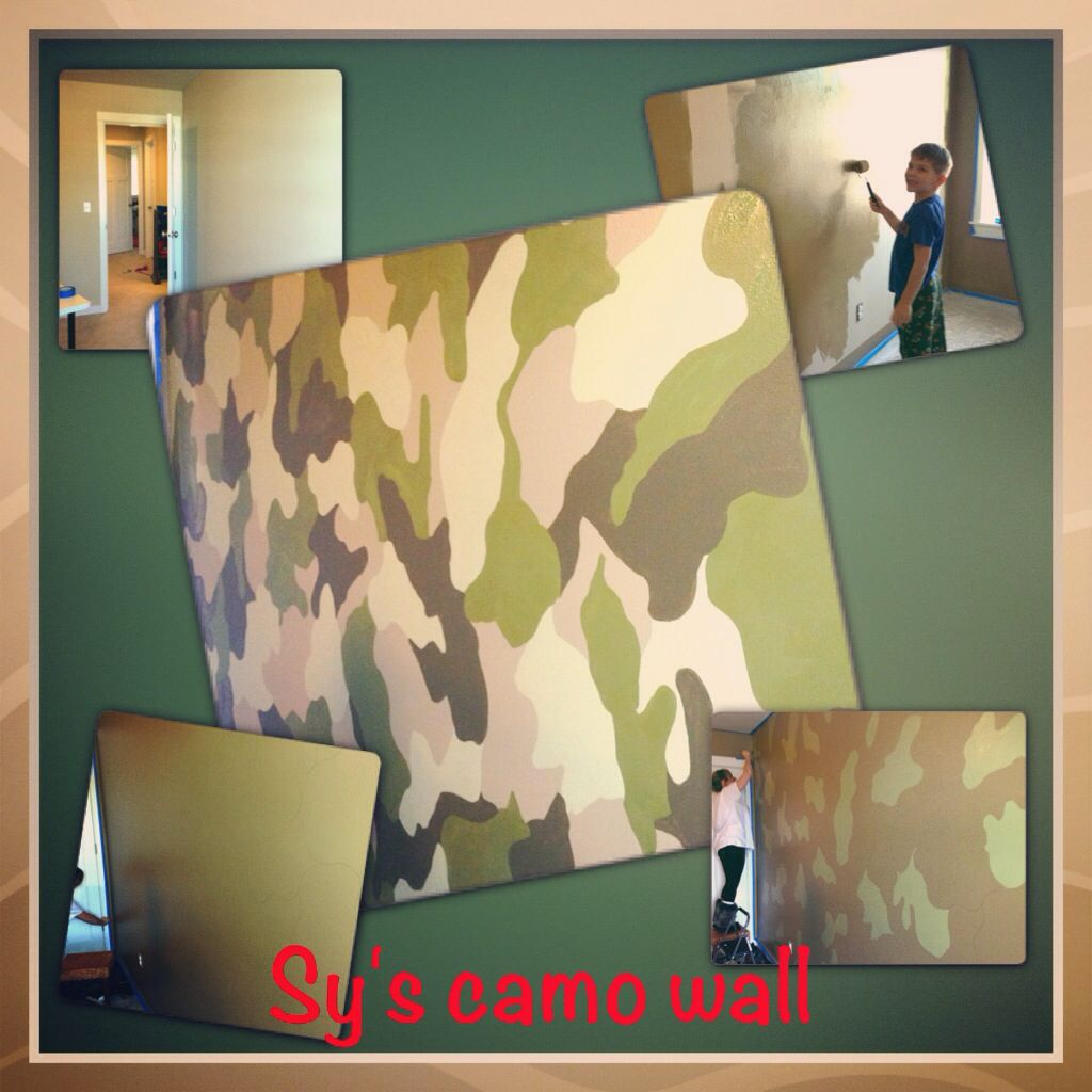 Camo wall paint for my sons room. Before during and after. | Sylas ...
