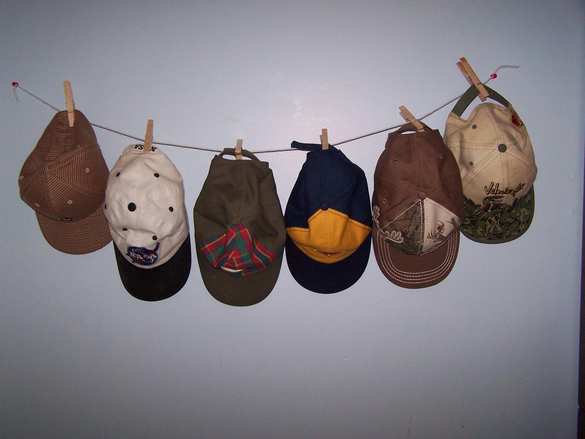 Boys Hat Storage   Thumbtacks, String, And Clothespins.