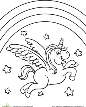 Color The Flying Unicorn Worksheet Education Com Unicorn Coloring Pages Flying Unicorn Preschool Coloring Pages