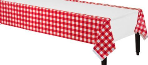American Summer Red Gingham Plastic Table Cover 54in X 102in Party