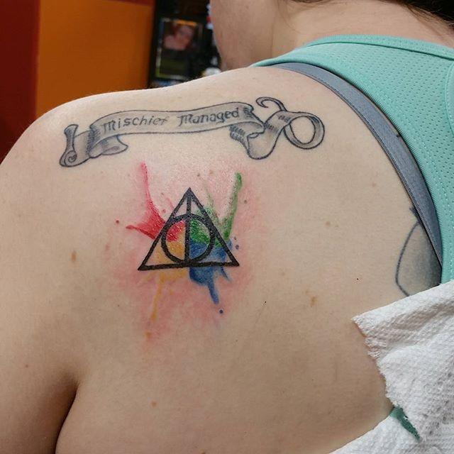Little Harry Potter tattoo from today! #harrypotter #deathlyhallows #hp #potterhead #hptattoo #tattoo #watercolor #watercolortattoo