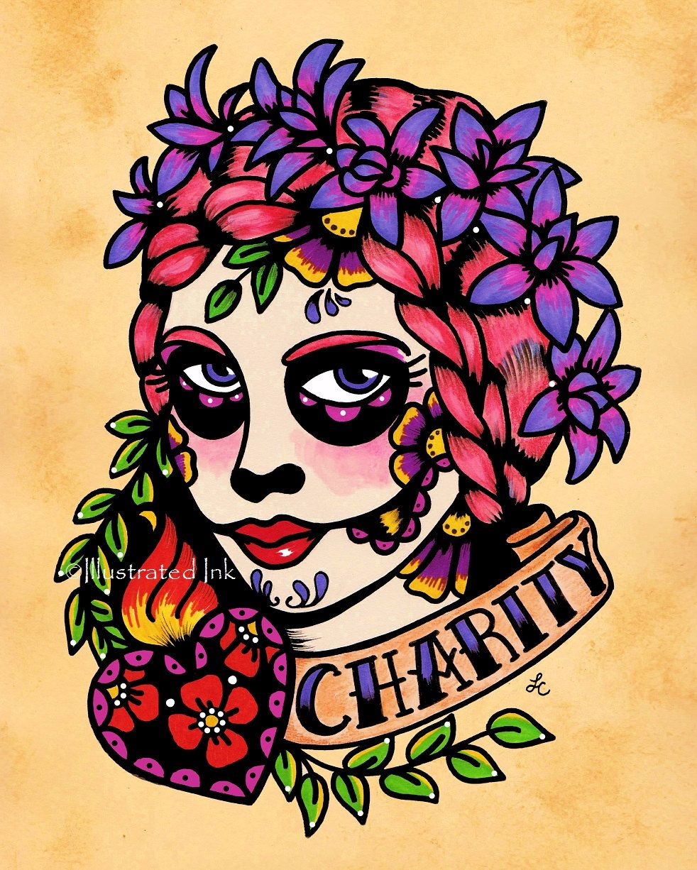 Day of the Dead Sacred Heart Beauty CHARITY Old by illustratedink, $10.00
