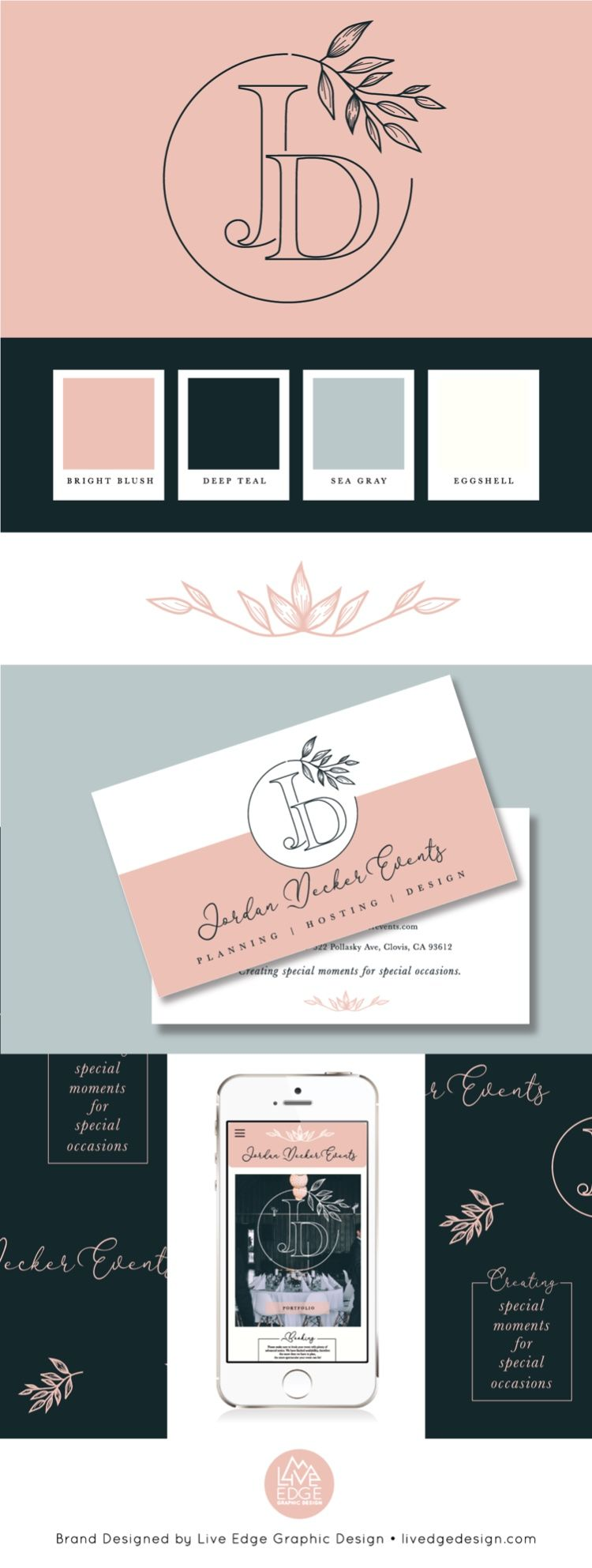 Conceptualized Cross Platform Branding For Stationary And Web Including Palette Composition Design And Compo Branding Design Rose Gold Iphone Custom Graphics