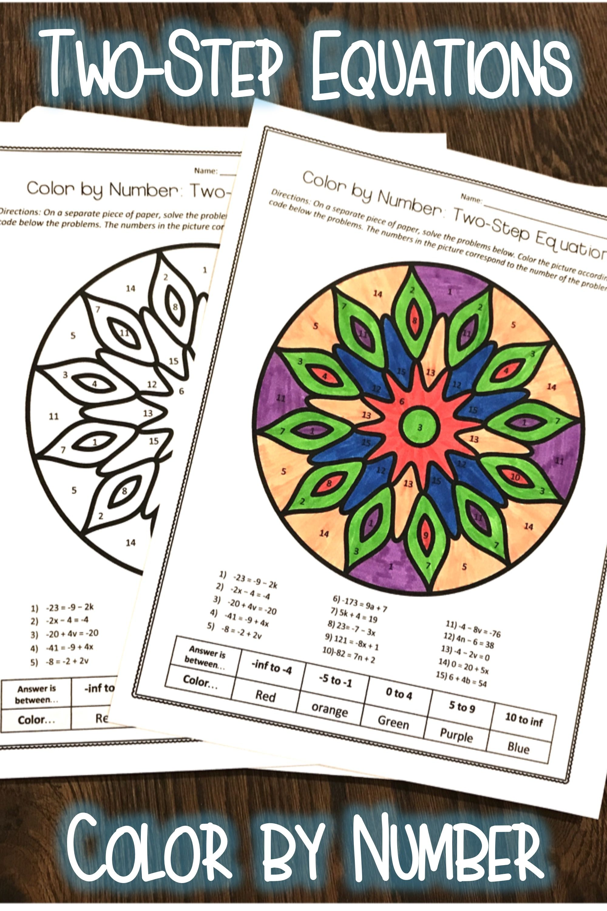 Two Step Equations Color By Number Worksheet Practice Two Step Equations Equations One Step Equations [ 3000 x 2000 Pixel ]