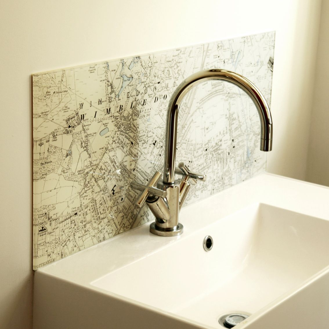 Personalised Map Glass Splashback #bathroomsplashback