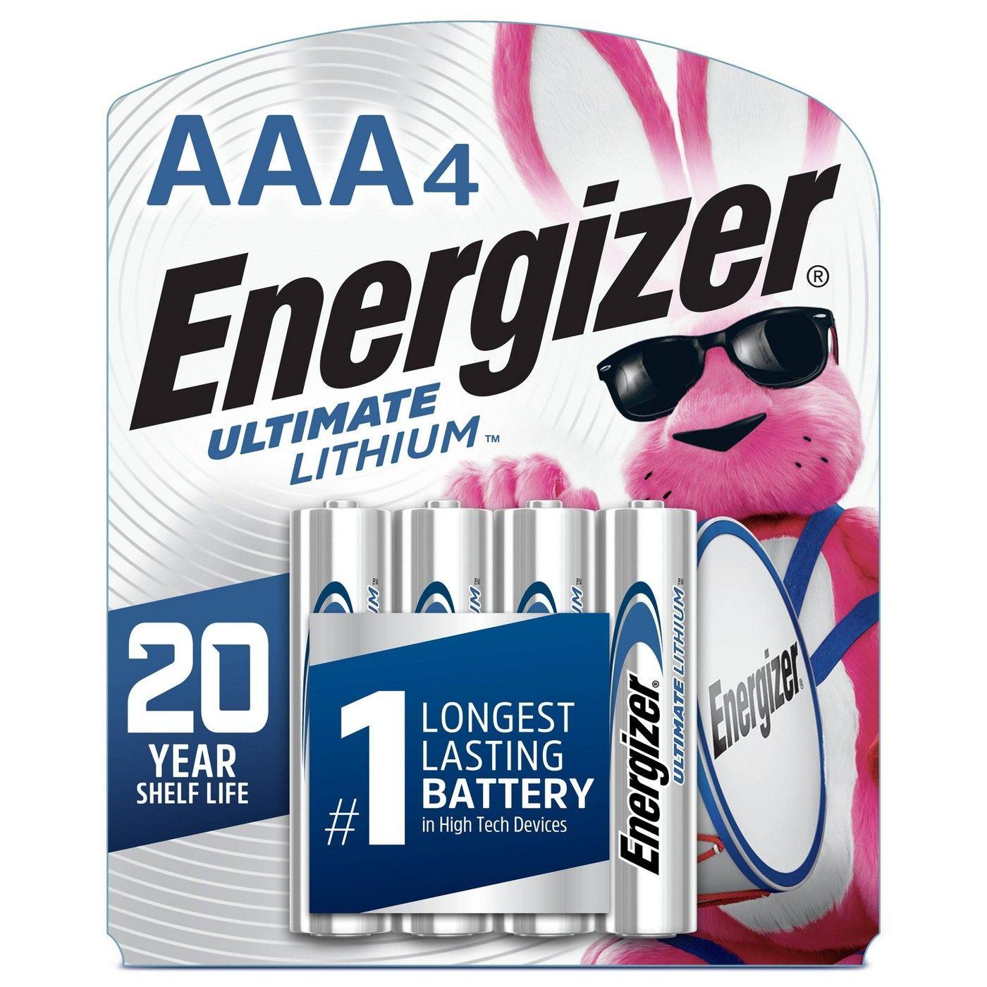 Energizer 4pk Ultimate Lithium Aaa Batteries Energizer Energizer Battery 9 Volt Battery