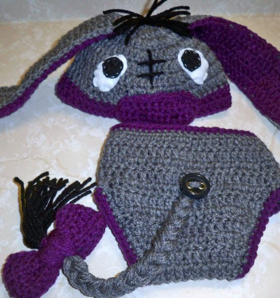 Cute eeyore hat and diaper cover pattern https://www.etsy.com ...