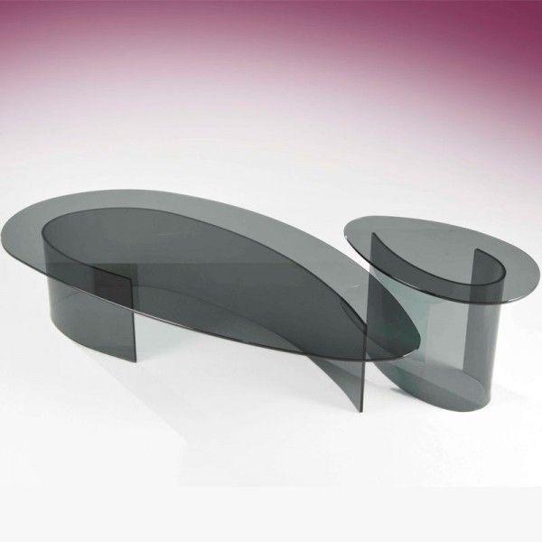 Tables Basses Plexiglass Coin Canape Ivana Verre Courbe Fume