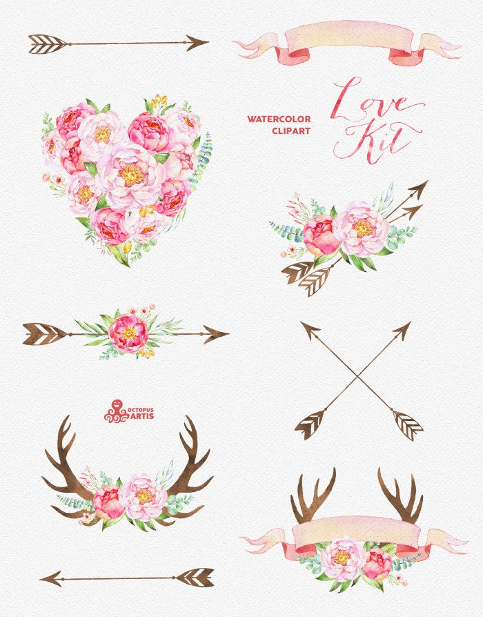 Floral Antler Tattoo: Love Kit. Watercolor Flowers Clipart, Peonies, Arrows