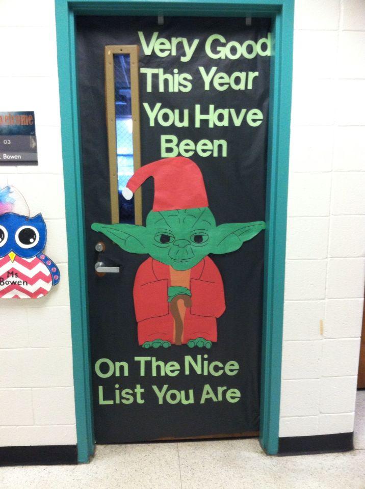 Star Wars Christmas Yoda Classroom Door #christmasdoordecorationsforwork