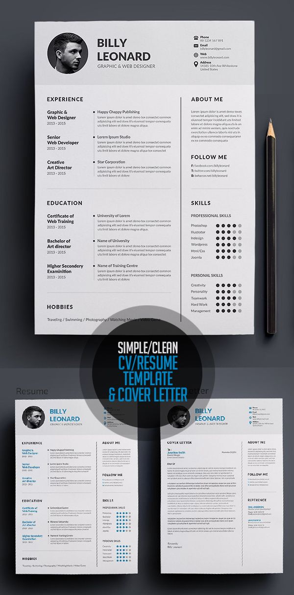 New Professional CV   Resume Templates with Cover Letter Design - graphic design resume template