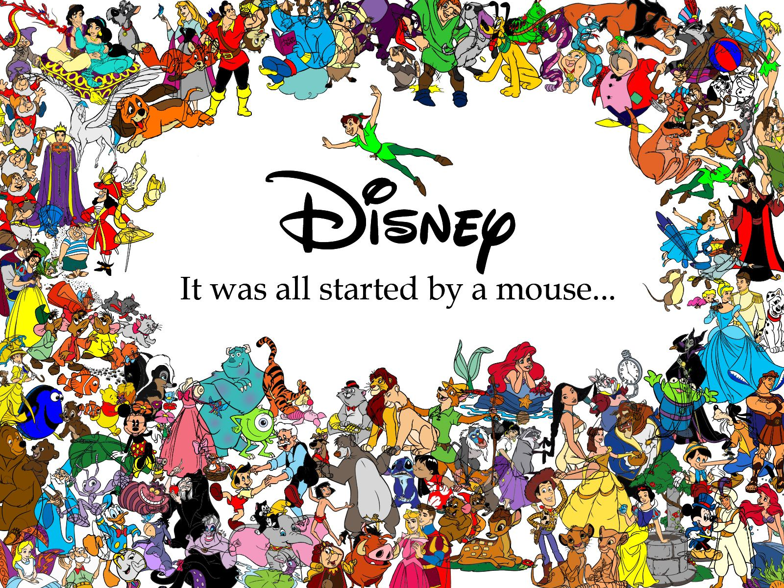 All Disney Characters HD Background 1600×1200 - High ...