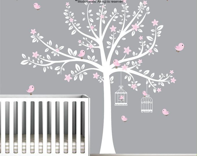 Reserved Listing For Steve Natural Tree White Tree Decal Birds