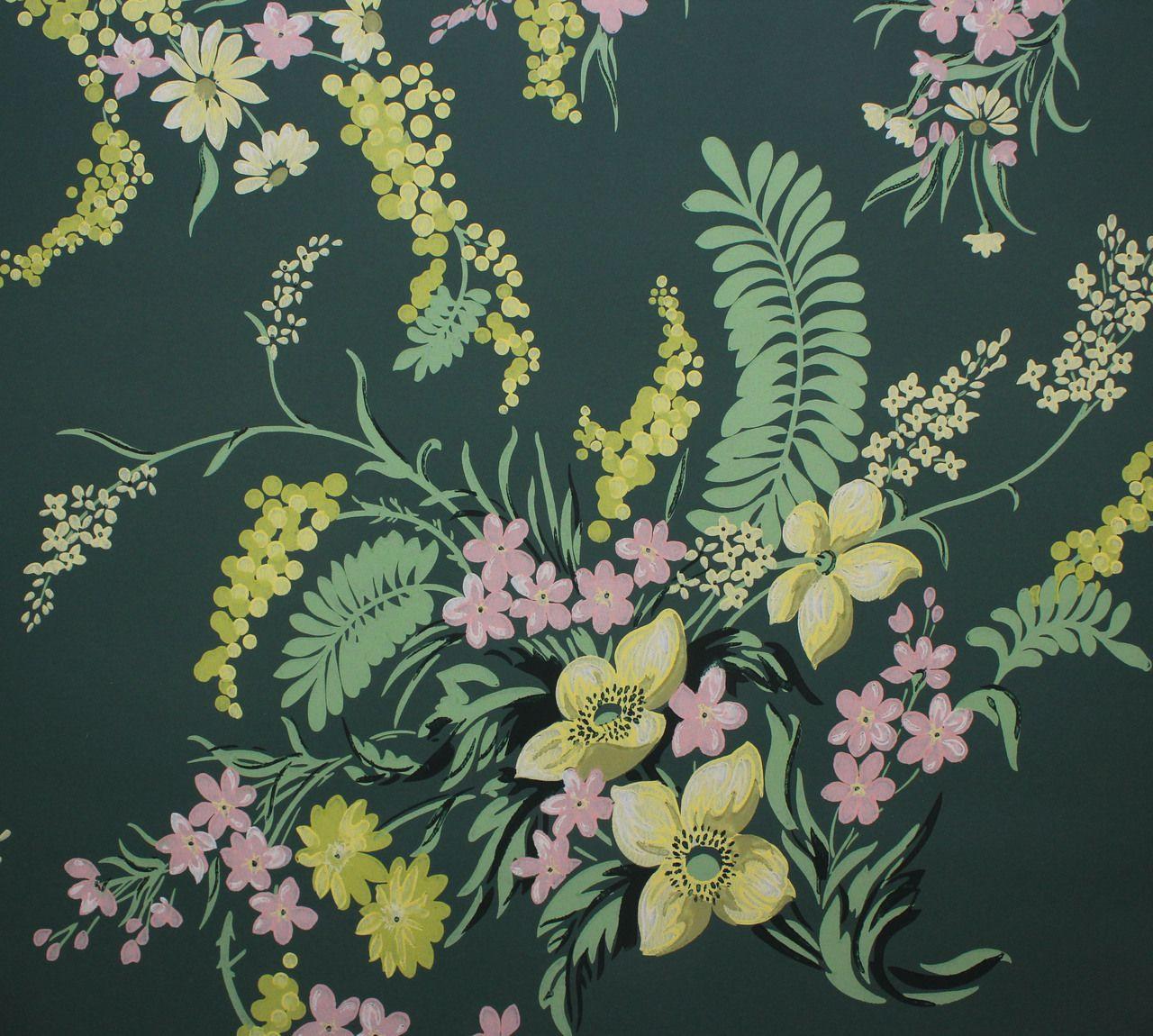 1940s Vintage Wallpaper Pretty Bouquets On Dark Green Vintage Wallpaper Prettiest Bouquet Mid Century Wallpaper