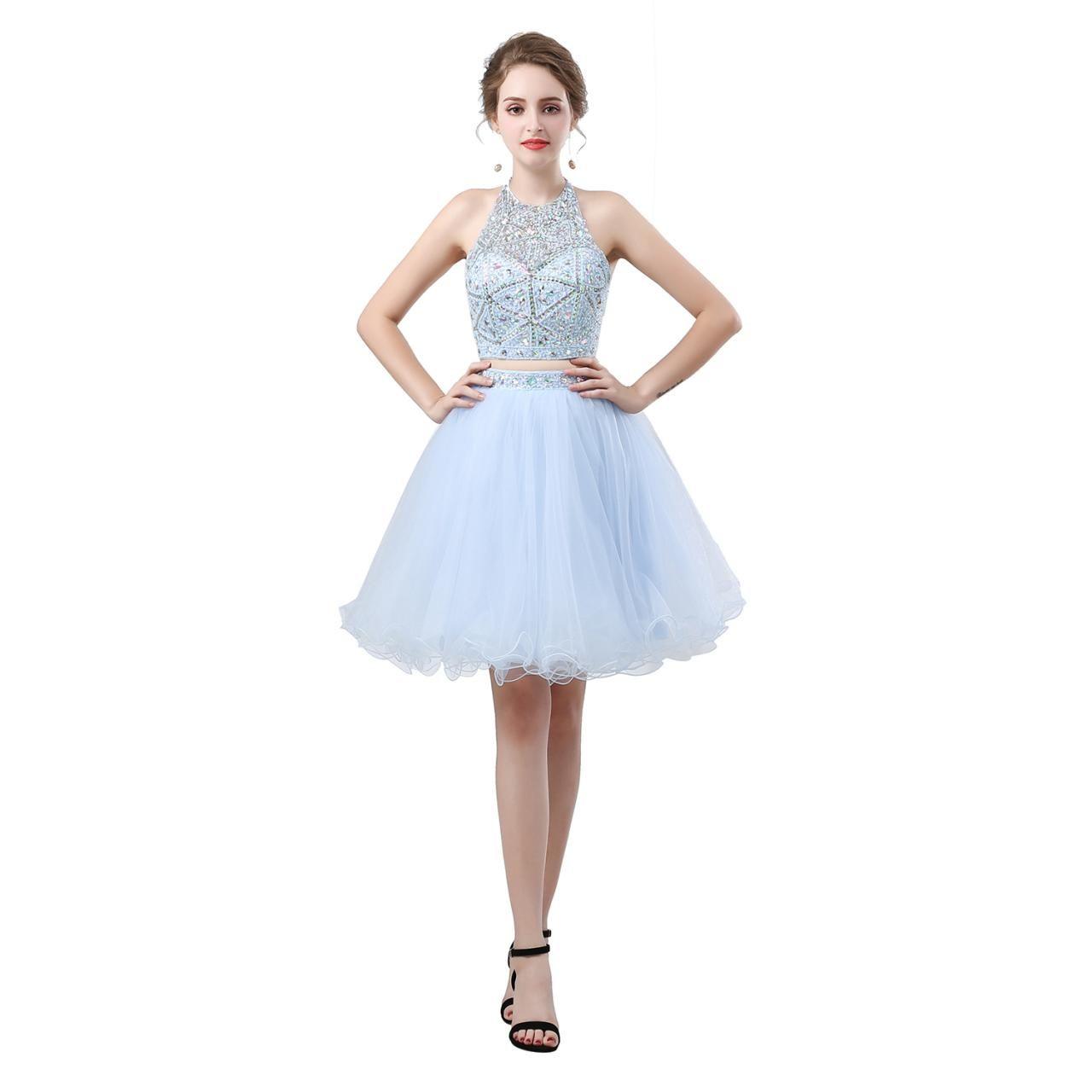 Luxury light blue crystal two piece short homecoming u homecoming