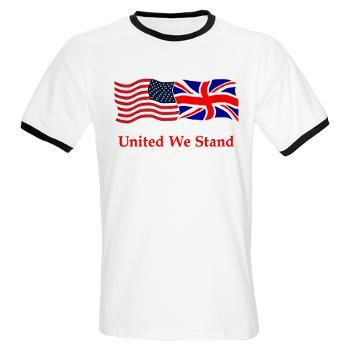 London And Us Flag T Shirt United We Stand T Shirt Us Flag And Union Jack Uk Waving Proudly Together Beneath Is The Slogan Flag Tshirt Mens Tops T Shirt