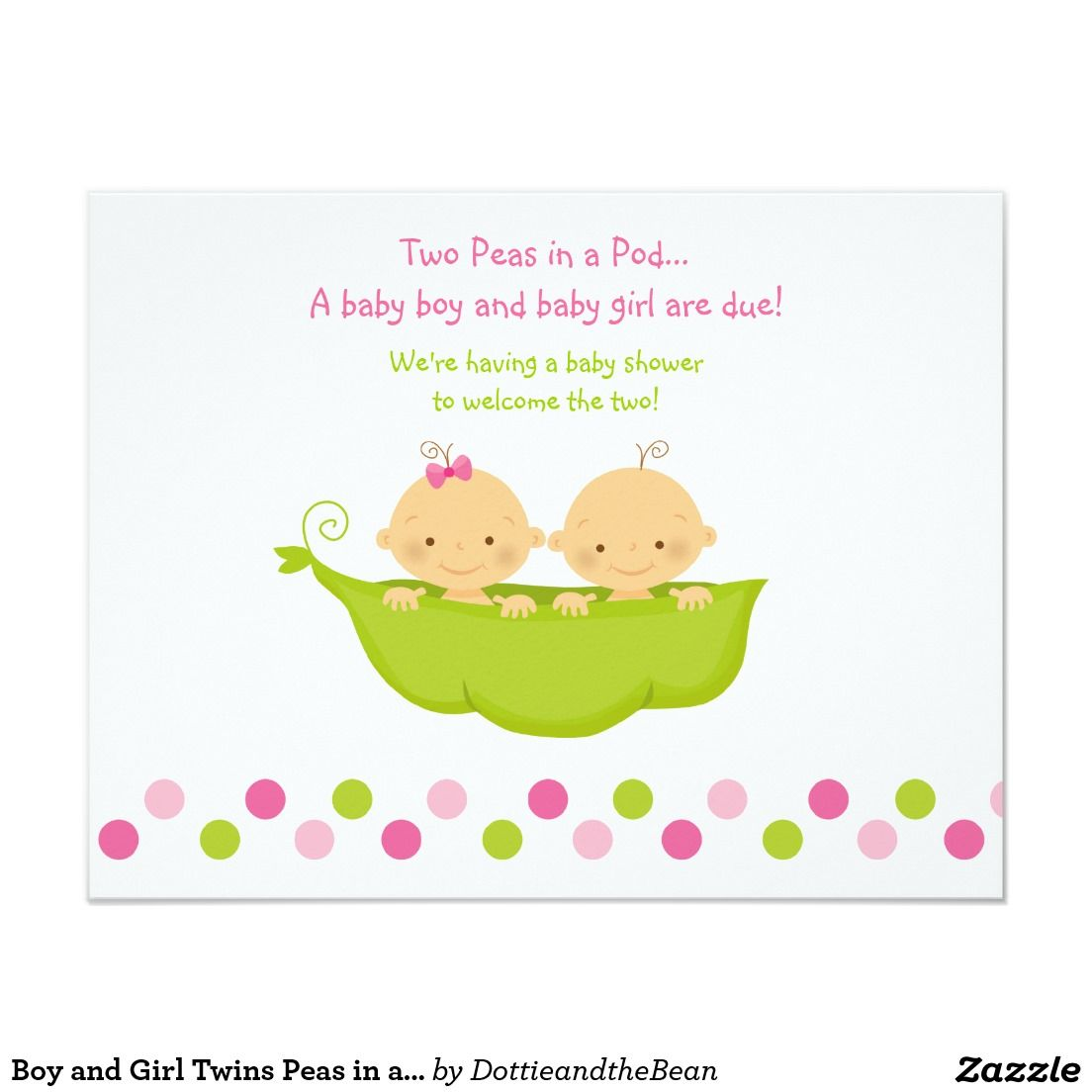 Boy and Girl Twins Peas in a Pod Invitation 4.25\