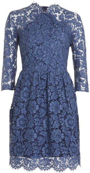 90754e715a086 Carven Lace Dress in Blue (navy) - Lyst | Coveting all the covets ...