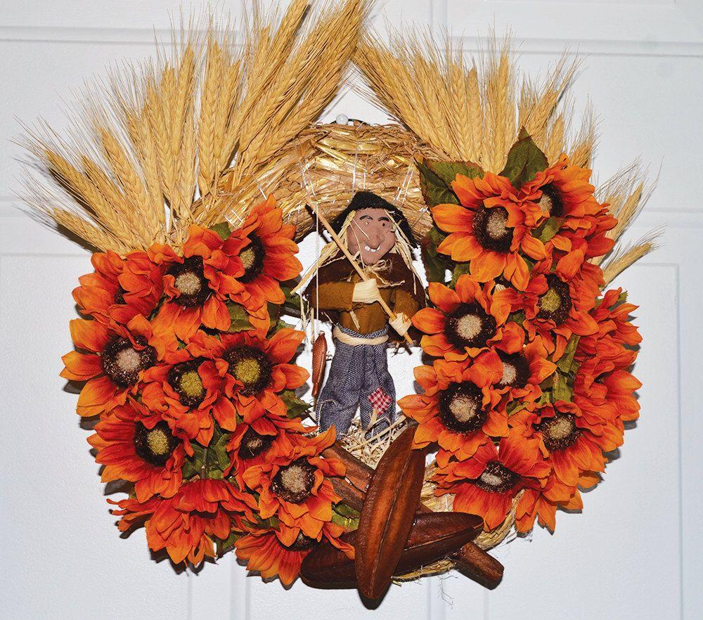 Front Door Decoration Halloween Wreath Scarecrow Wreath ...
