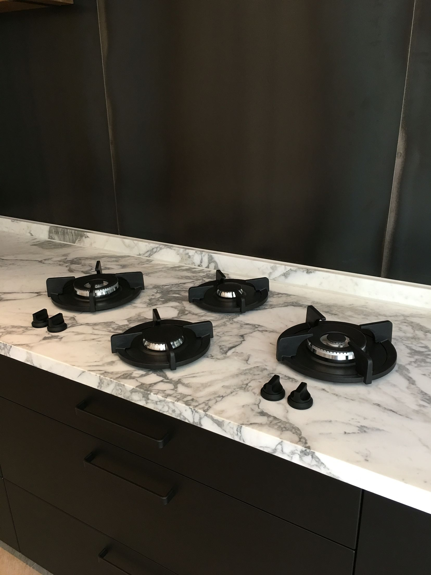 Kitchen, Nanotech Countertop In Black With Built In Gas Stove And ...