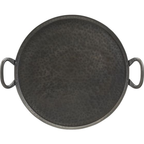 A feast platter is a great way to serve appetizers, finger foods or ethnic specialties to a big group with high-impact style. Each large-scale server is handcrafted from iron, hand-hammered into its own unique pattern. Practical sturdy loop handles complete the traditional look.