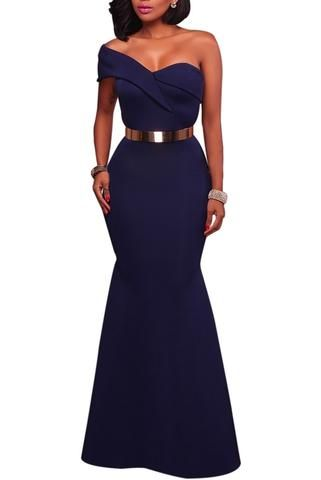 71476a021a6 Elegant Navy Blue Sexy One Shoulder Ponti Gown Lace Party Dresses