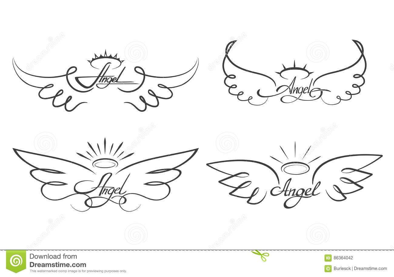 #Wings #Drawing  Angel Wings Drawing Vector Illustration. Winged Angelic Tattoo Icons Stock Vector - Image: 86364042