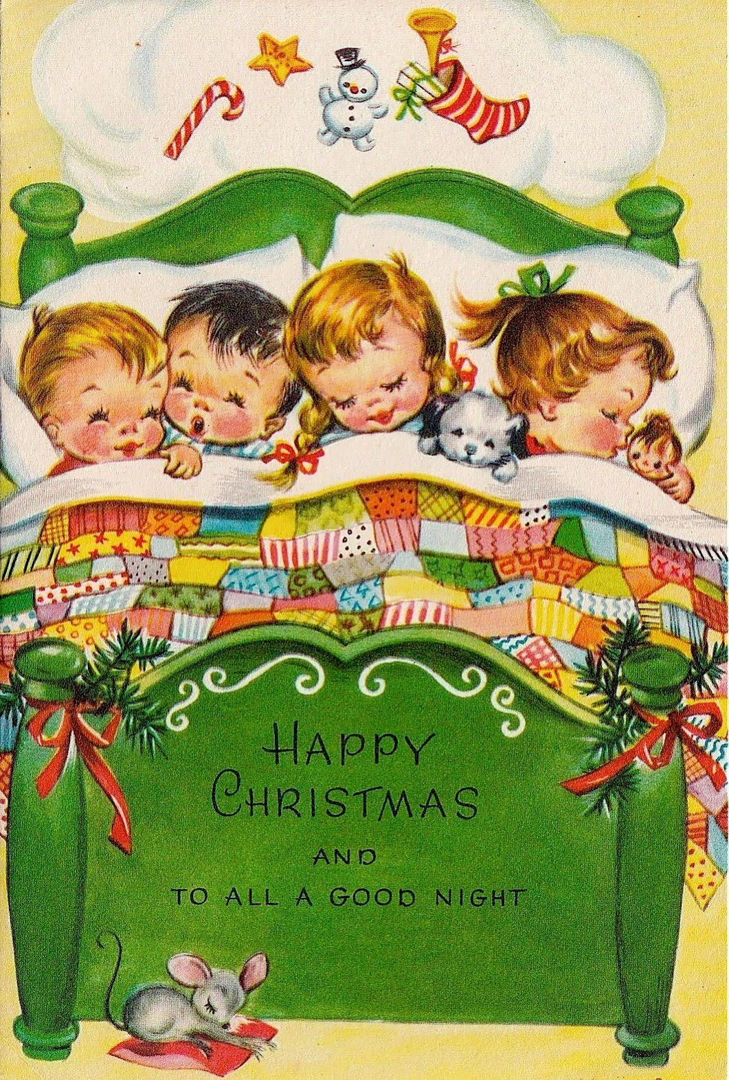Vintage Unused Bed Full of Sleeping Children & Mouse Christmas ...