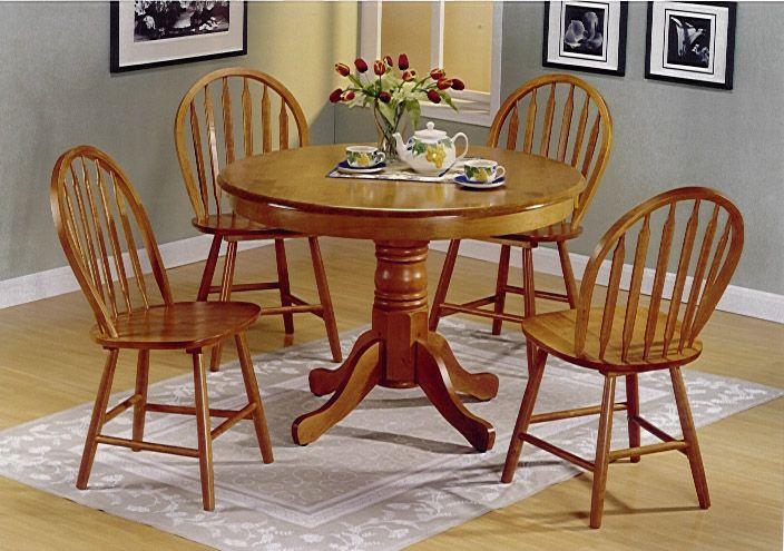 5pc Round Oak Pedestal Kitchen Dining Table Set Hyeriders