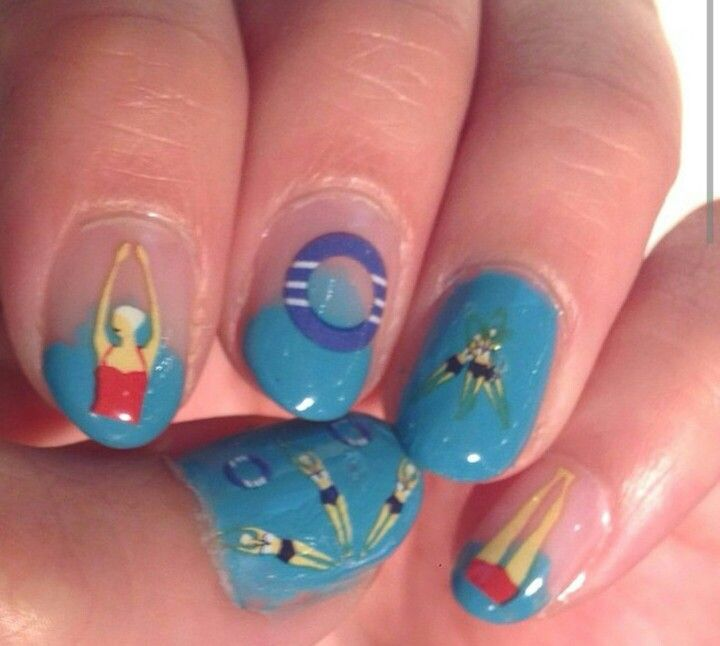 Swimming Nail Art Little Crush Pinterest Crushes