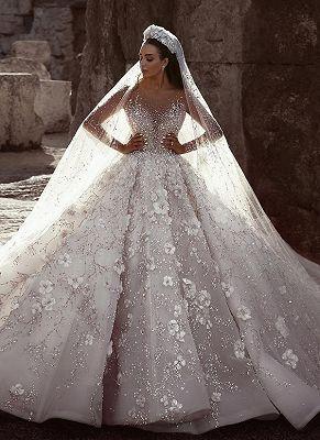 Luxus Brautkleider Mit Ärmel | Kristal Hochzeitskleider A Linie Mit Spitze