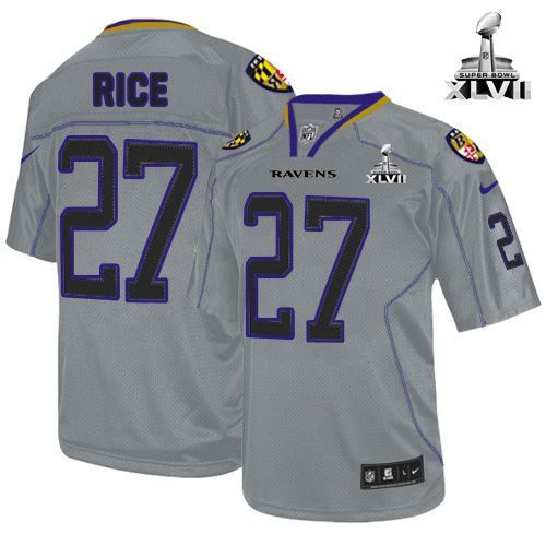 Baltimore Ravens http://#27 Ray Rice NIKE Lights Out Grey With Super