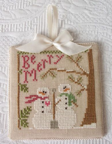 Finished-Cross-Stitch-Christmas-Ornament-BE-MERRY-Snowman