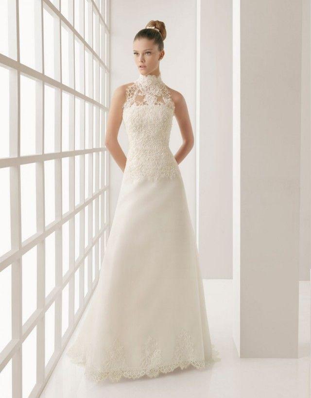 great bridal hair, trend 2013 hoge halter trouwjurk | jurk ...