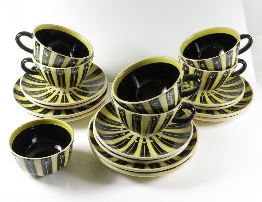hedwig bollhagen 6 tassen untertassen teller und eine zuckerdose gelb schwarz sch nes. Black Bedroom Furniture Sets. Home Design Ideas