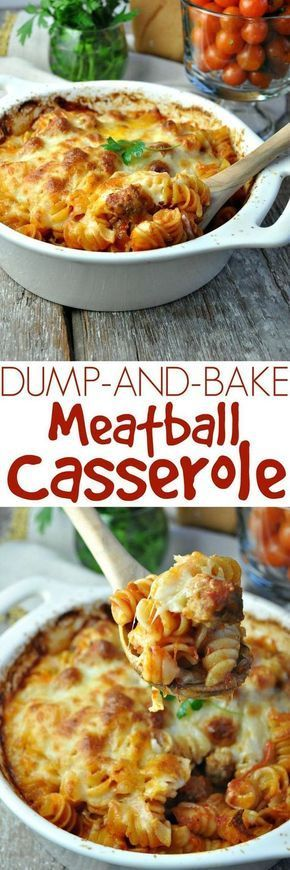 and Bake Meatball Casserole Dinner doesnt get any easier! No boiling the pasta and just 5 ingredients for this family-friendly comfort food: Dump and Bake Meatball Casserole!Dinner doesnt get any easier! No boiling the pasta and just 5 ingredients for this family-friendly comfort food: Dump and Bake Meatball Casserole!